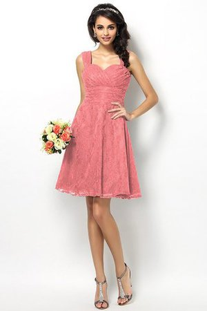 Wide Straps Short Sleeveless Natural Waist Satin Bridesmaid Dress - 28