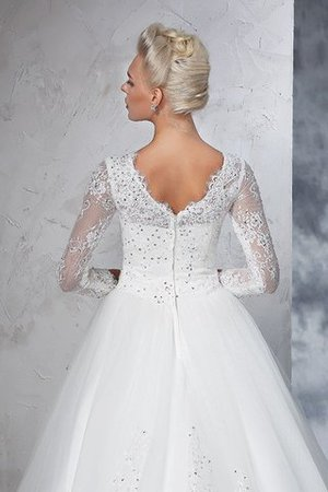 Sweep Train Long Zipper Up Ball Gown Long Sleeves Wedding Dress - 8