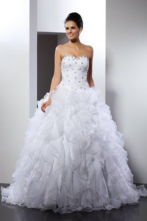 Empire Waist Ball Gown Court Train Sleeveless Satin Wedding Dress - 1