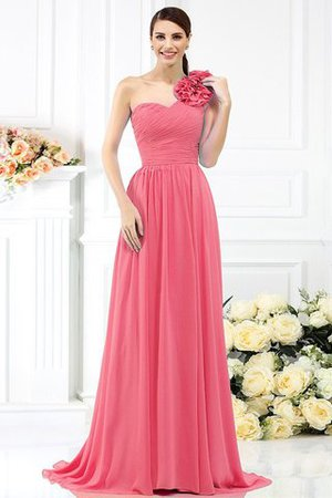 Chiffon A-Line One Shoulder Long Flowers Bridesmaid Dress - 28