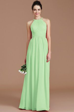 Ruched Floor Length Chiffon Natural Waist Halter Bridesmaid Dress - 29