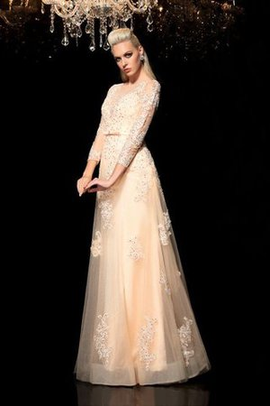 Princess Long Sleeves Zipper Up Appliques Floor Length Wedding Dress - 5