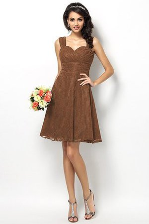 Wide Straps Short Sleeveless Natural Waist Satin Bridesmaid Dress - 4