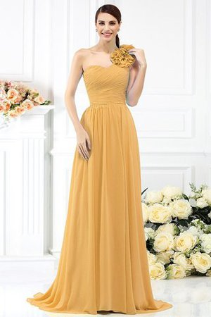Chiffon A-Line One Shoulder Long Flowers Bridesmaid Dress - 12