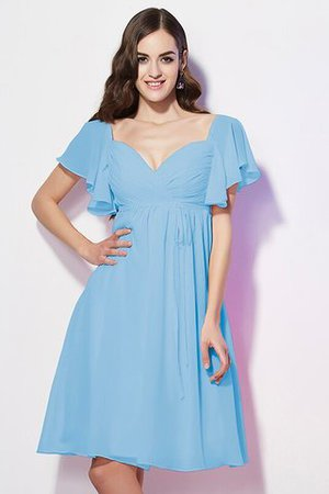 Ruffles Knee Length Short Sleeves Sweetheart Bridesmaid Dress - 4
