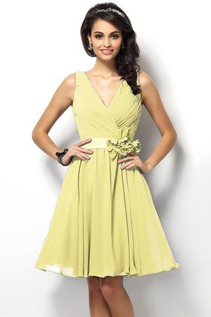 Draped A-Line V-Neck Natural Waist Bridesmaid Dress - 8