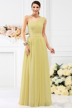 Pleated Long A-Line One Shoulder Bridesmaid Dress - 8