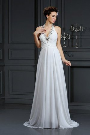 Chiffon Halter Court Train A-Line Beading Wedding Dress - 1