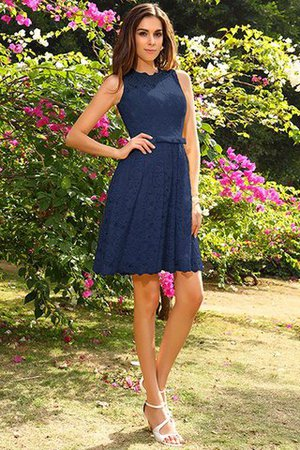 Knee Length Natural Waist Scoop Lace Elastic Woven Satin Bridesmaid Dress - 10
