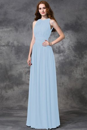 Sleeveless Ruched Natural Waist Chiffon Long Bridesmaid Dress - 18