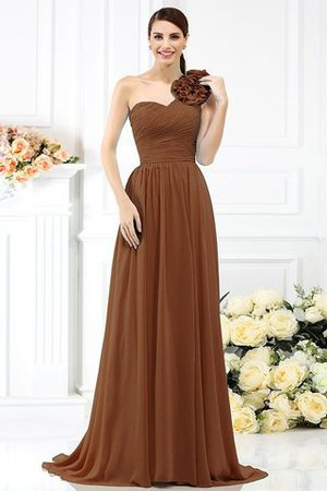 Chiffon A-Line One Shoulder Long Flowers Bridesmaid Dress - 4