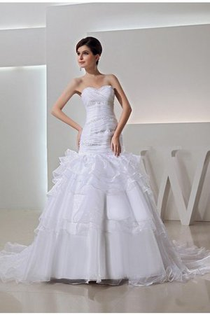 Organza Long Empire Waist Lace-up Beading Wedding Dress - 1