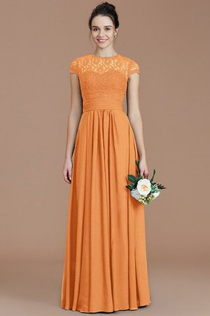 Chiffon Floor Length A-Line Jewel Short Sleeves Bridesmaid Dress - 26