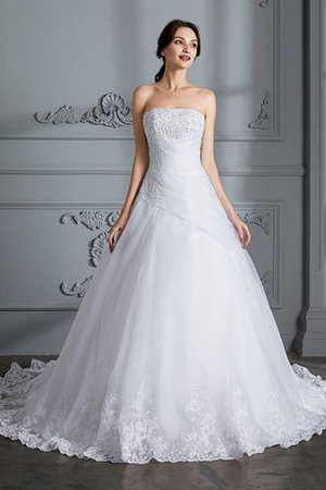 Ball Gown Natural Waist Organza Sleeveless Court Train Wedding Dress - 3