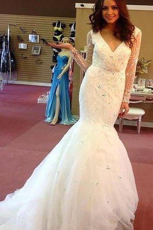 Tulle Long Sleeves Beading Court Train Natural Waist Wedding Dress - 1