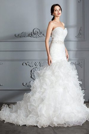 Sweetheart Ruffles Mermaid Sleeveless Sweep Train Wedding Dress - 3