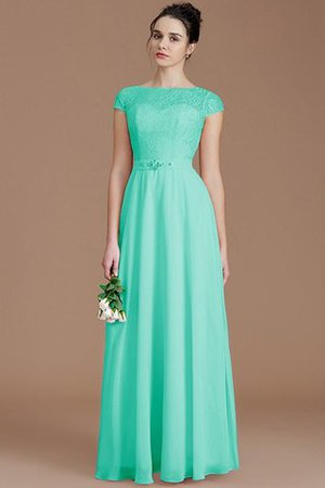 Floor Length Lace Chiffon Natural Waist Zipper Up Bridesmaid Dress - 20