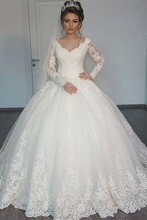 V-Neck Natural Waist Court Train Ball Gown Long Sleeves Wedding Dress - 1