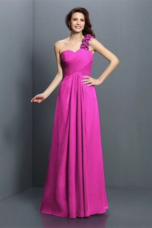 Zipper Up One Shoulder Chiffon A-Line Bridesmaid Dress - 11