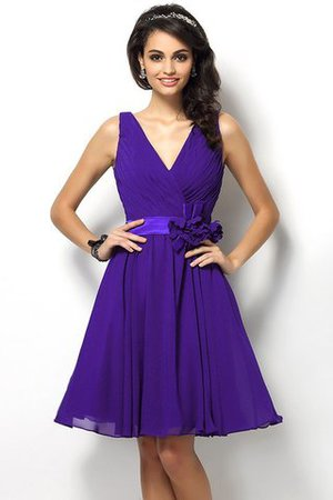 Draped A-Line V-Neck Natural Waist Bridesmaid Dress - 24
