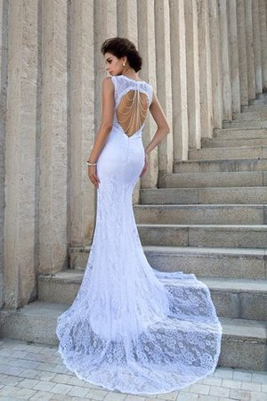 Zipper Up Court Train Sheath Sleeveless Long Wedding Dress - 2