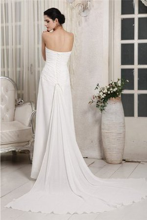 Chiffon Lace-up Ruffles Court Train Sheath Wedding Dress - 2