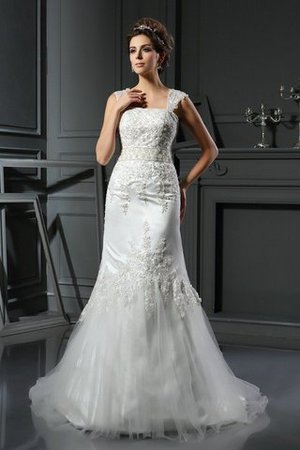 Natural Waist Mermaid Long Lace-up Wide Straps Wedding Dress - 1