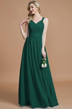 Sleeveless Natural Waist A-Line V-Neck Bridesmaid Dress - 15