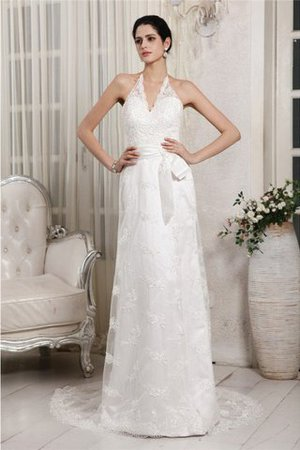 Appliques Zipper Up Lace Sweep Train Empire Waist Wedding Dress - 1