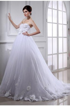 Flowers Lace-up Sashes Sleeveless Wedding Dress - 1