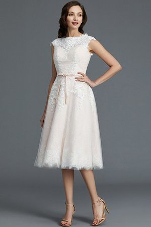 Bateau Natural Waist Sleeveless Knee Length A-Line Wedding Dress - 4
