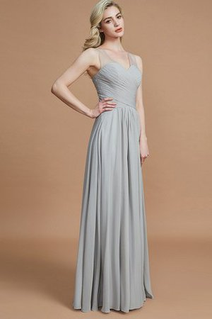 Natural Waist Floor Length A-Line V-Neck Bridesmaid Dress - 5