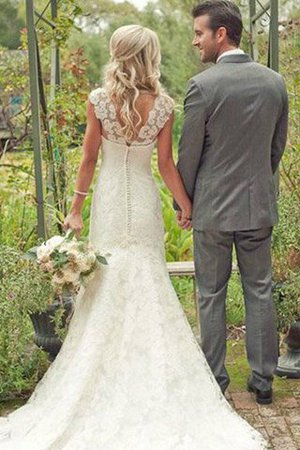 Lace Natural Waist V-Neck Sweep Train Mermaid Wedding Dress - 2
