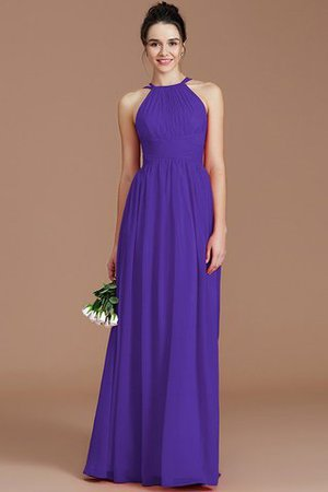 Ruched Floor Length Chiffon Natural Waist Halter Bridesmaid Dress - 26