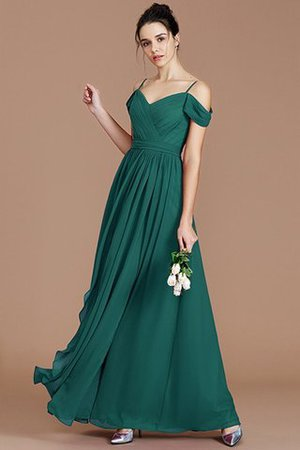Chiffon Floor Length A-Line Ruched Bridesmaid Dress - 15