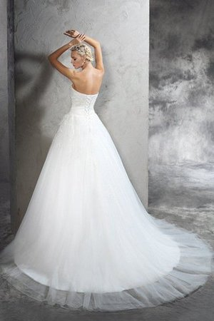Natural Waist Lace-up Long Ball Gown Appliques Wedding Dress - 2