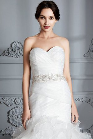 Sweetheart Ruffles Mermaid Sleeveless Sweep Train Wedding Dress - 6