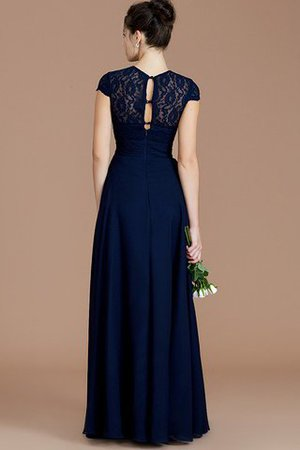 Chiffon Floor Length A-Line Jewel Short Sleeves Bridesmaid Dress - 36