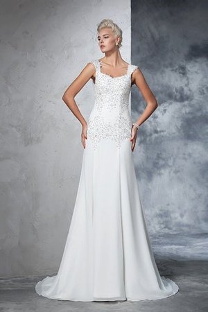 Empire Waist Court Train Sleeveless Chiffon Wide Straps Wedding Dress - 3