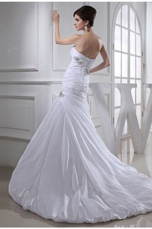 Long Strapless Mermaid Chapel Train Appliques Wedding Dress - 2