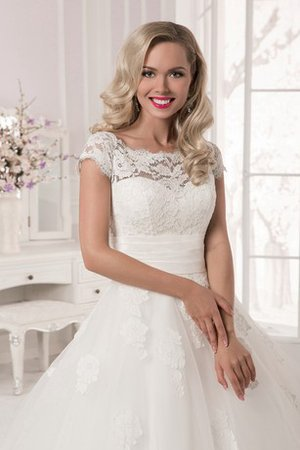 Natural Waist Capped Sleeves Lace Bateau Court Train Wedding Dress - 2