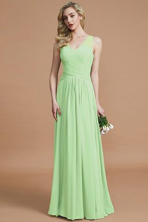 Natural Waist Floor Length A-Line V-Neck Bridesmaid Dress - 31