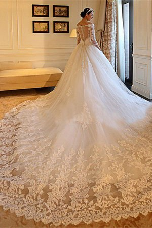 3/4 Length Sleeves Church Demure Cathedral Train Zipper Up Exclusive Wedding Dress - 3