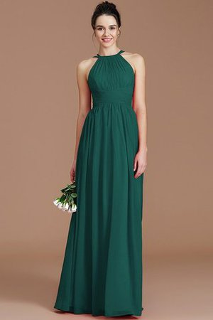 Ruched Floor Length Chiffon Natural Waist Halter Bridesmaid Dress - 13