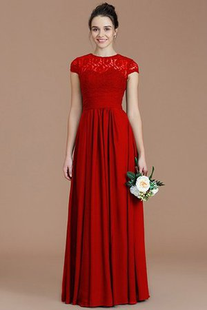 Chiffon Floor Length A-Line Jewel Short Sleeves Bridesmaid Dress - 35