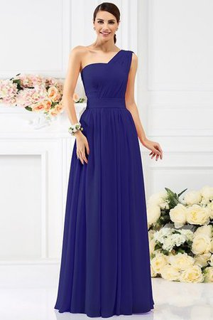 Pleated Long A-Line One Shoulder Bridesmaid Dress - 25