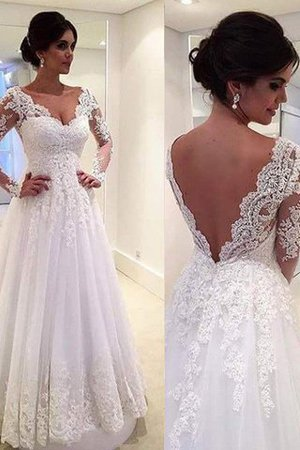 V-Neck Natural Waist Court Train Lace-up Ball Gown Wedding Dress - 3