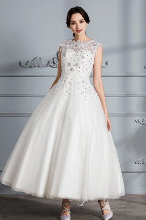 Scoop Sleeveless Ball Gown Tulle Natural Waist Wedding Dress - 1