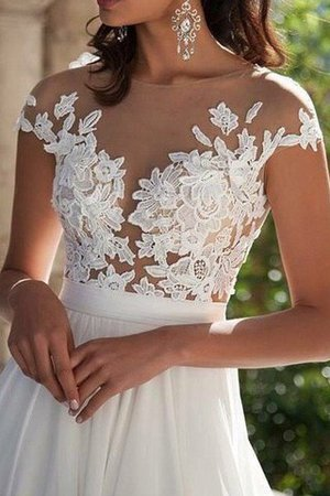 Scoop Appliques Short Sleeves Floor Length Princess Wedding Dress - 4