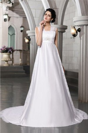 Sleeveless Zipper Up Wide Straps Satin A-Line Wedding Dress - 1